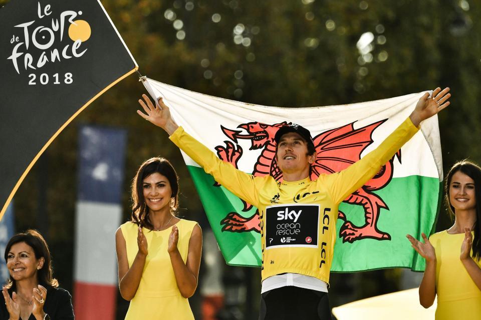 Geraint Thomas celebrates winning the Tour de France.