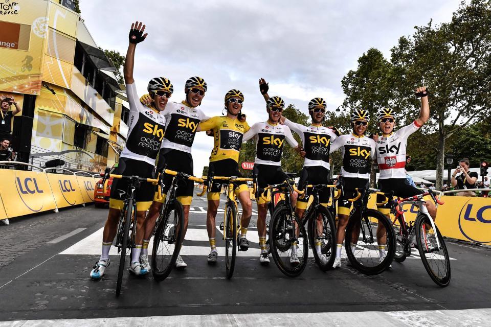 Team Sky celebrate Geraint Thomas' Tour de France win earlier this year