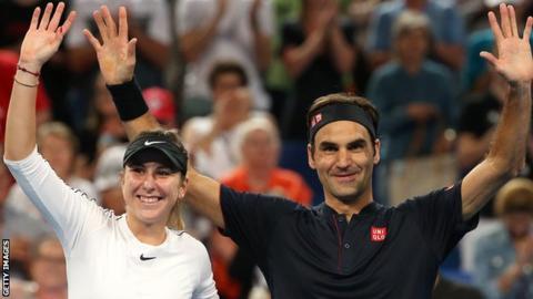 Belinda Bencic and Roger Federer