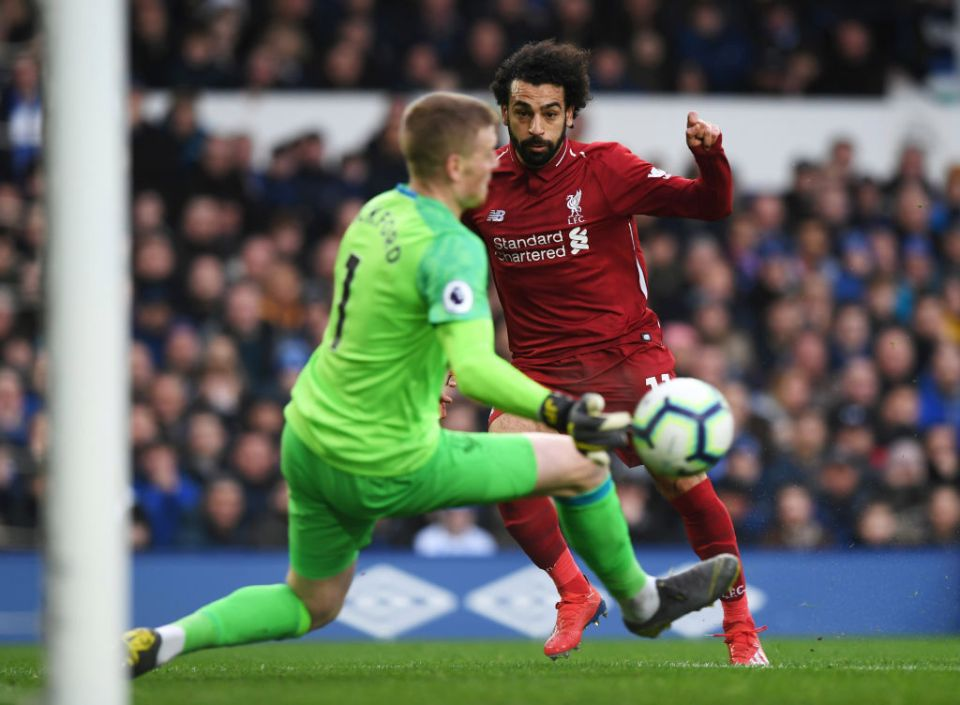 Salah had the first-half's best chance when his tame effort was saved by Jordan Pickford