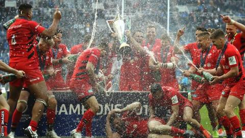 Saracens celebrate their Champions Cup win over Leinster