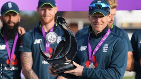 England captain Eoin Morgan celebrates