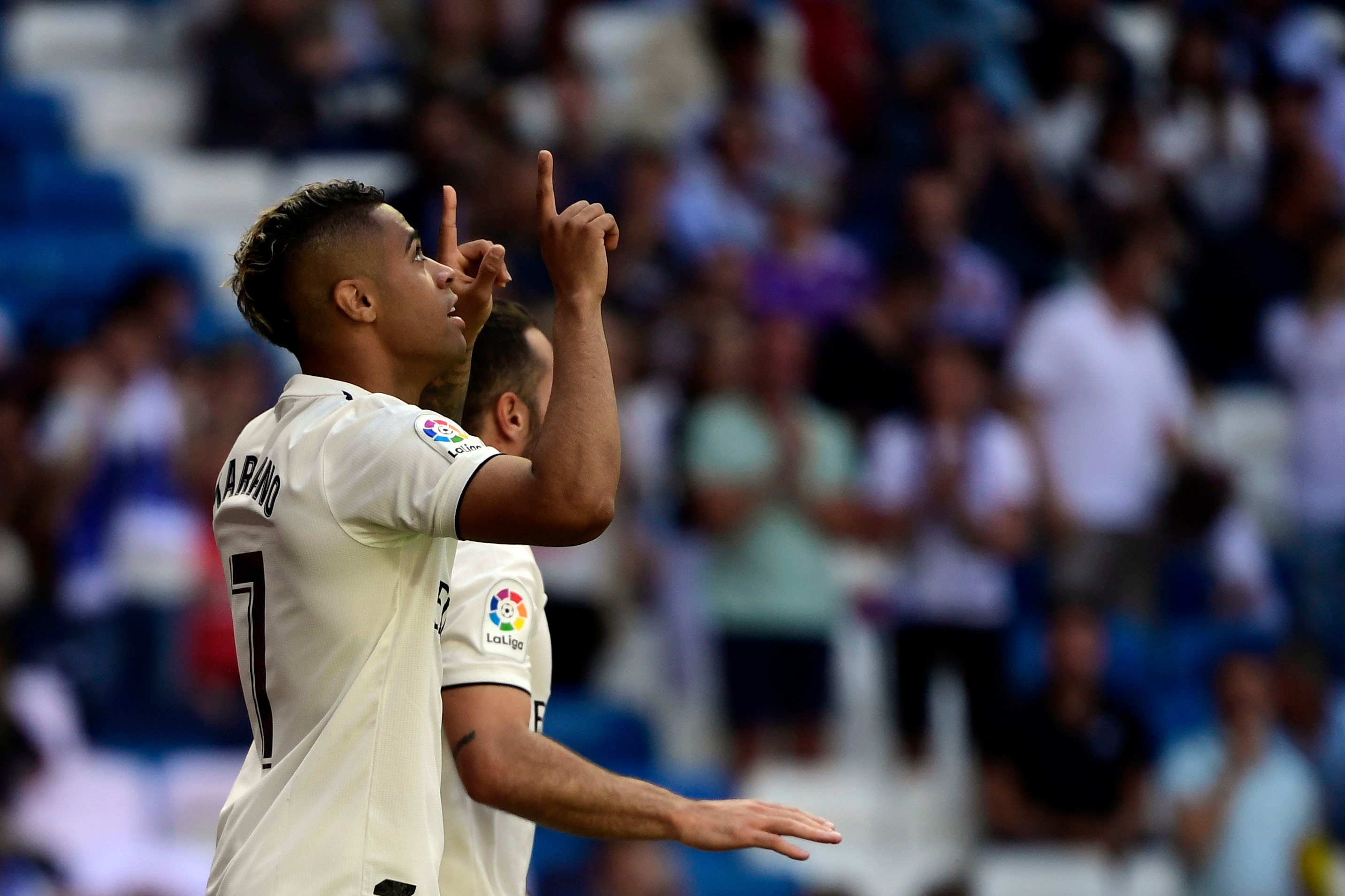Real Madrid forward Mariano celebrates his second goal against Villarreal