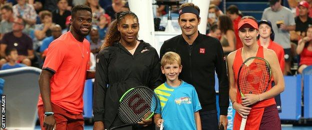 Francis Tiafoe, Serena Williams, Roger Federer and Belinda Bencic