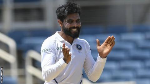 India spinner Ravindra Jadeja celebrates taking a wicket