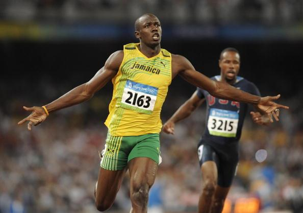 Bolt announces himself on the world stage when he broke the 100m record at the Beijing Olympics in 2008